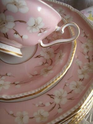 Pretty pink dishes / china with white apple blossom pattern ~