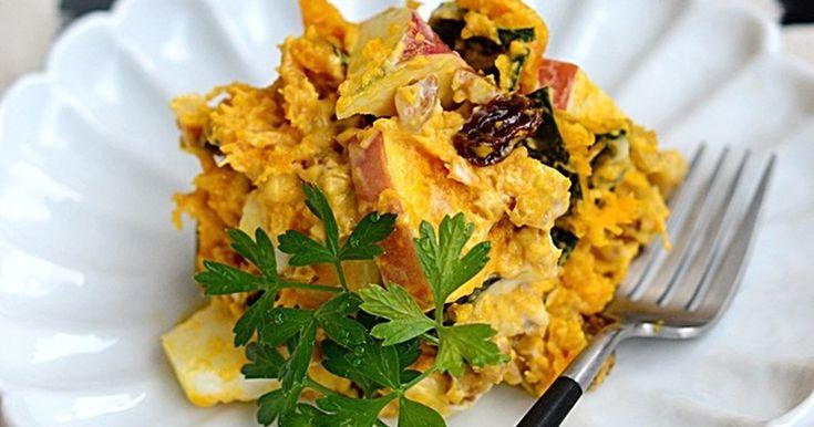 とっても濃厚で口当たりがなめらかな、食べ応えのある栄養満点なお芋さんのサラダ。シャキシャキりんごの歯ごたえがポイントです