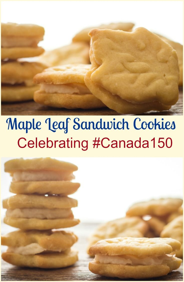Maple Leaf Sandwich Cookies, a delicious delicate maple crunchy cookie with a creamy smooth maple filling. Celebrate #Canada150. via @https://it.pinterest.com/Italianinkitchn/