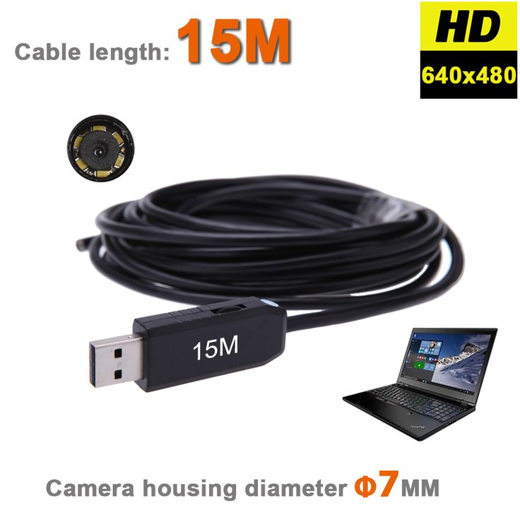 7MM 15M Endoscope Inspection IP 67 Waterproof Camera Pipe Snake Borescope Tube Camera Adjustable Brightness LED With 15M Cable #women, #men, #hats, #watches, #belts, #fashion