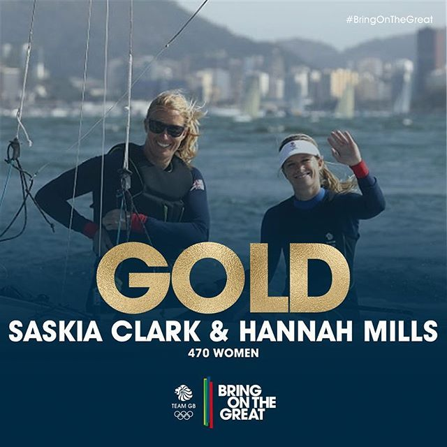 Worth the wait, in #Gold! A day later than planned due to a postponed Medal Race Saskia Clark and Hannah Mills add Rio 470 class Gold to their London 2012 Silver after a week of inspirational #Sailing. Congratulations! #bringonthegreat👏🏻🏅💪🏼🇬🇧