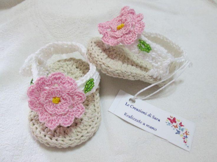 Scarpe neonata cotone uncinetto Infradito neonata Sandali neonata 0/3 Crochet baby shoes