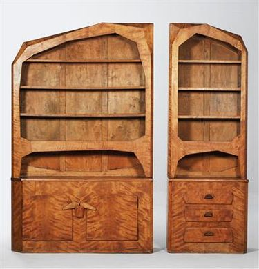 A pair of anthroposophical bookcases, Germany,