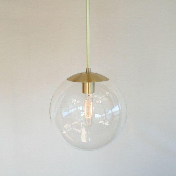 "Mid Century Modern 10"" Globe Pendant Light - Clear Glass Globe - The Orbiter 10 with Brass Stem"