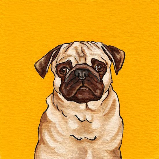 Image of PUG ON YELLOW 5x5 PRINT