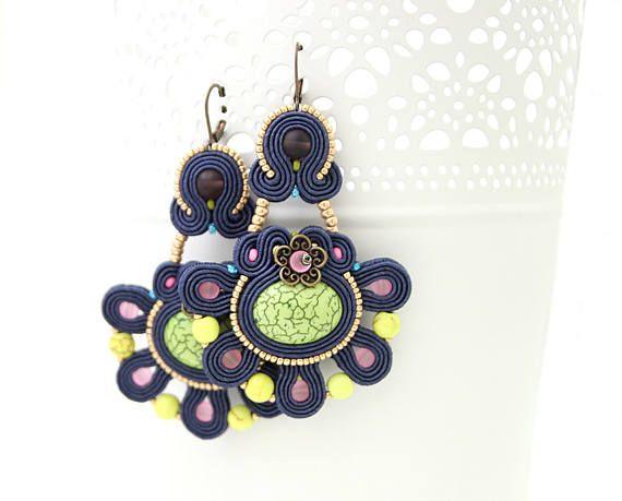 Colorful dangle earrings soutache earrings fashion earrings