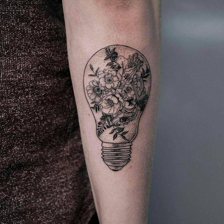 Fine line light bulb tattoo idea