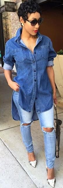 Denim blouses are always very popular,which can make you looked much cooler and this blouse keeps BF style,you can wear it at your daily life,which do add some glamour to you,get one you prefer. Color