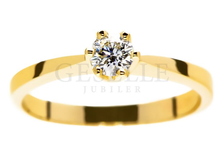 Wyjątkowy pierścionek zaręczynowy w rozmiarze 11 ze złota pr. 585 z certyfikowanym brylantem o masie 0,26 ct i pięknej barwie D - GRAWER W PREZENCIE   PIERŚCIONKI ZARĘCZYNOWE  Brylant  Żółte złoto od GESELLE Jubiler