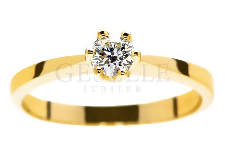 Wyjątkowy pierścionek zaręczynowy w rozmiarze 11 ze złota pr. 585 z certyfikowanym brylantem o masie 0,26 ct i pięknej barwie D - GRAWER W PREZENCIE | PIERŚCIONKI ZARĘCZYNOWE  Brylant  Żółte złoto od GESELLE Jubiler