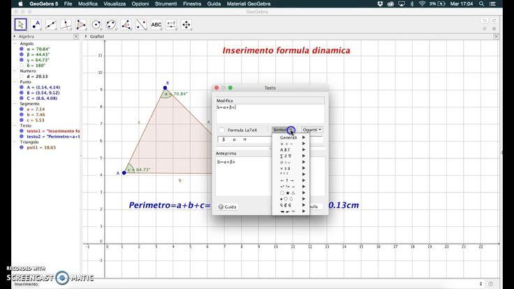 Inserimento di una formula dinamica in GeoGebra