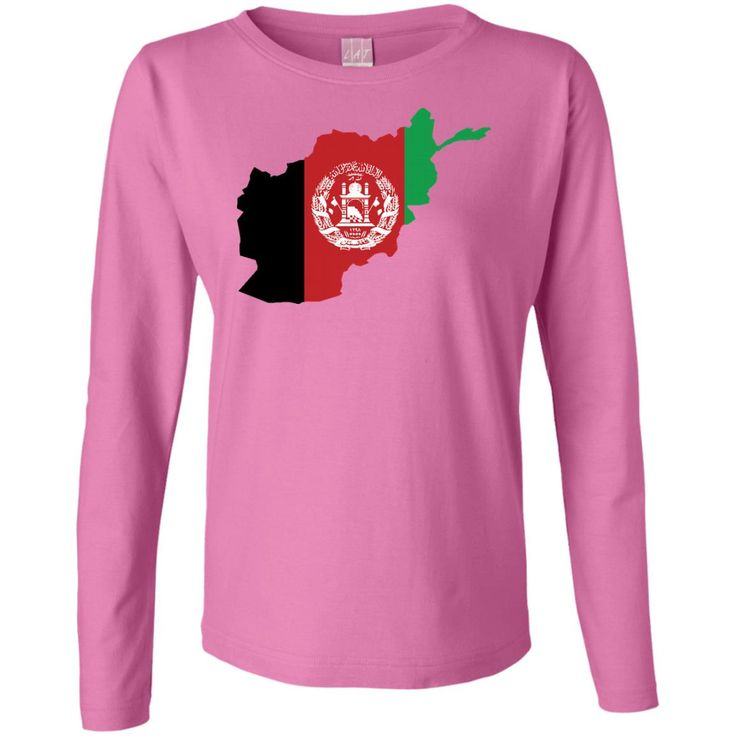 afghanistan flag-01 Ladies' Long Sleeve Cotton TShirt
