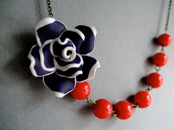 Bridesmaid Jewelry,Sailor Jewelry,Nautical Necklace,Flower Jewelry,Navy Blue Jewelry,Cherry Red Jewelry (Free matching earrings) on Etsy, $30.00
