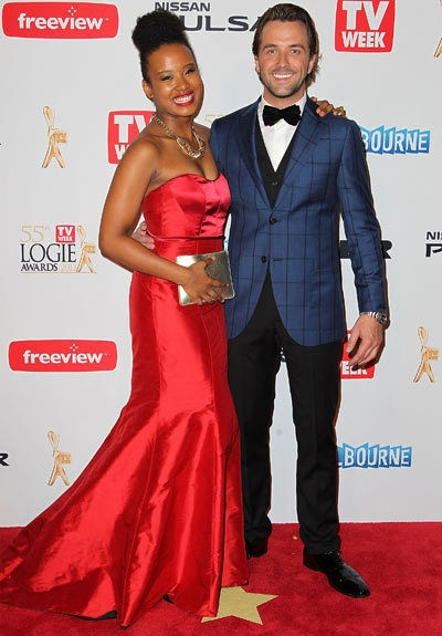 Darren McMullen from The Voice at the 2013 Logie Awards kitted out in Herringbone with Faustina Agolley