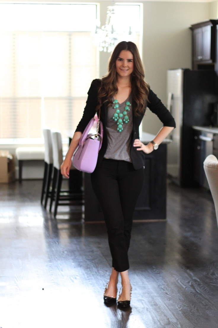 Black blazer with skinny black capri: Veronika's Blushing