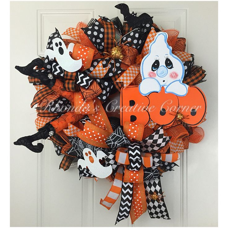 Halloween Deco Mesh Wreath, Halloween Wreath, October 31st Wreath, Ghost Wreath…