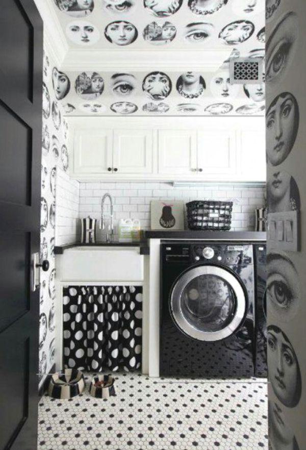 10 Black and White Laundry Room Design