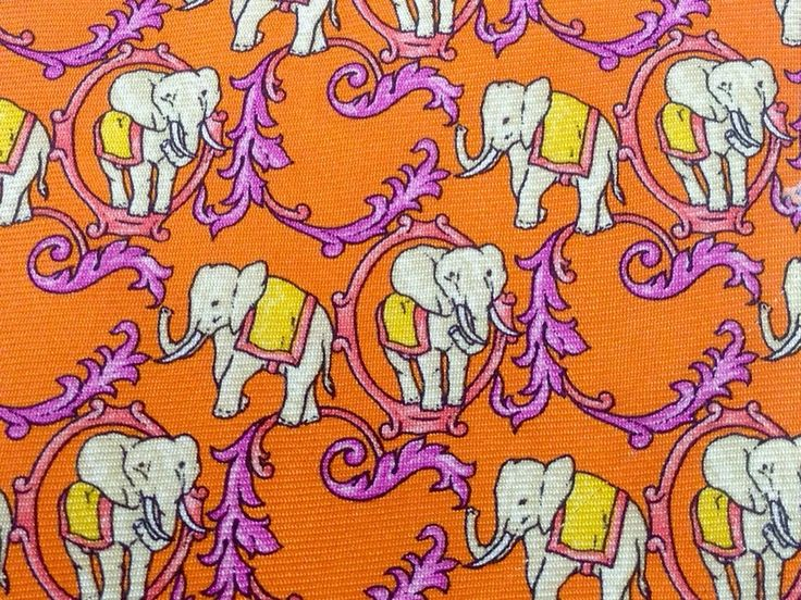 Animal Print Tie Elephant Purple Orange Ornamental Silk Men Necktie 29 Condition: Excellent  Width: Classic (3 1/2 in.-3 3/4 in.)  Length: Classic (57 in.-60 in.)  Material: 100% Silk ​ If you need exact measurement please contact me   http://p.nembol.com/p/NkV8IOG_W Happily published via Nembol