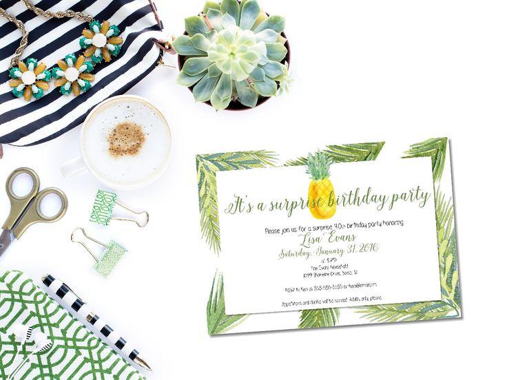 Printable pineapple birthday invitation/surprise birthday invitation/tropical birthdayinvitation/surprise party/female birthday invitation by glassslipperdesigns on Etsy