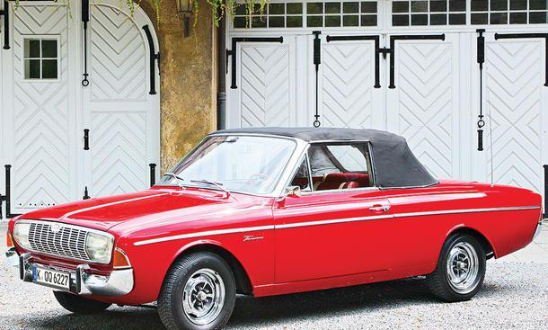 FORD 20M TS (P5)V6-Zylinder; Bohrung x Hub: 84,0 x 60,1 mm; Hubraum: 1998 cm3; Leistung: 66 kW/90 PS bei 5000 /min; max. Drehmoment: 155 Nm bei 3000 /min; 4-Gang, manuell; selbsttr. Ganzstahlkarosserie mit zwei Türen, nachträglich zum Cabrio umgearbeitet; L/B/H: 4585/1715/1470 mm; 0 – 100 km/h in ca. 12 s, Höchstgeschw.: ca. 150 km/h; Bauzeit: 1964 – 1967; Stückzahl: ca. 150; Preis (1965): ca. 13.000 Mark
