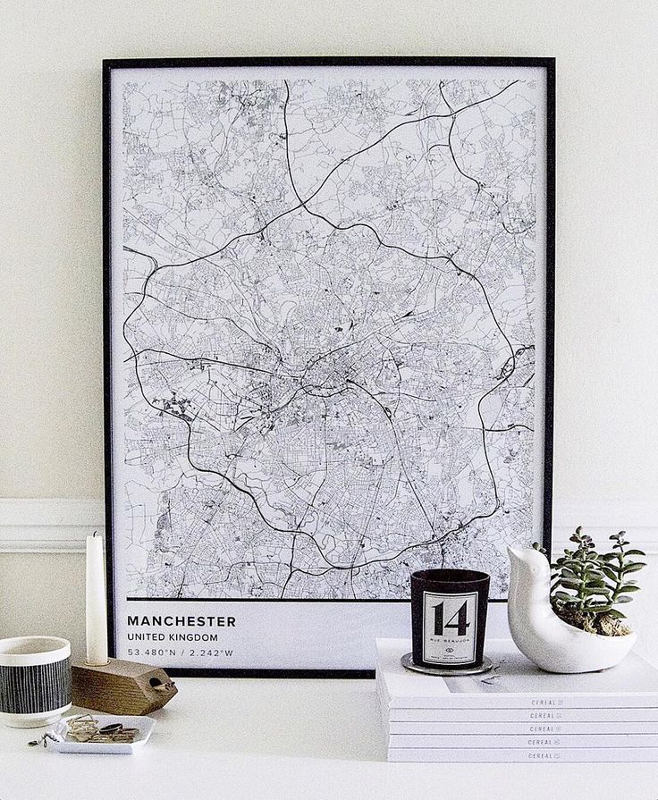Map poster of Manchester, U.K. Print size 50 x 70 cm. Custom black and white map posters online. Mapiful.com