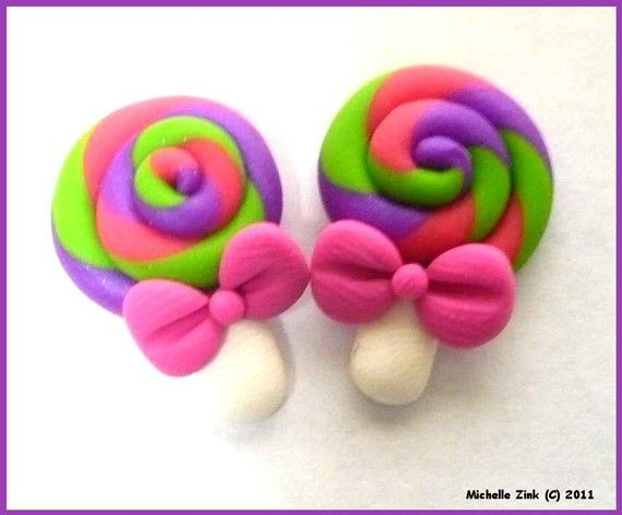 Polymer Clay Bow Center Lollipop Pair No by michellesclaybeads
