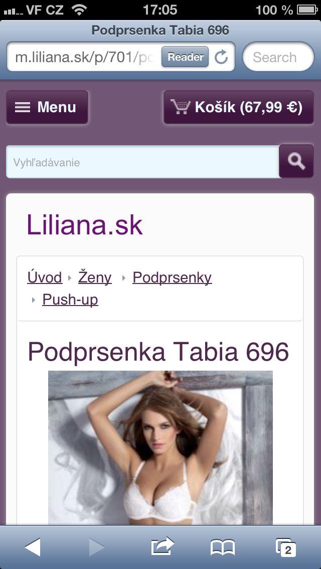 Zobrazení eshopu vytvořeného prostřednictvím Flox 2.0 na iPhone5 - Texty a obrázky jsou velké, snadno čitelné. Mobilní verze má nahoře na všech podstránkách výrazné ikonky MENU a KOŠÍK.