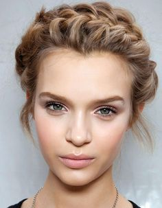Josephine Skriver's Crown French Braid Updo   Beach, Casual, Evening, Everyday, Party, Prom, Spring, Summer, Wedding   Careforhair.co.uk