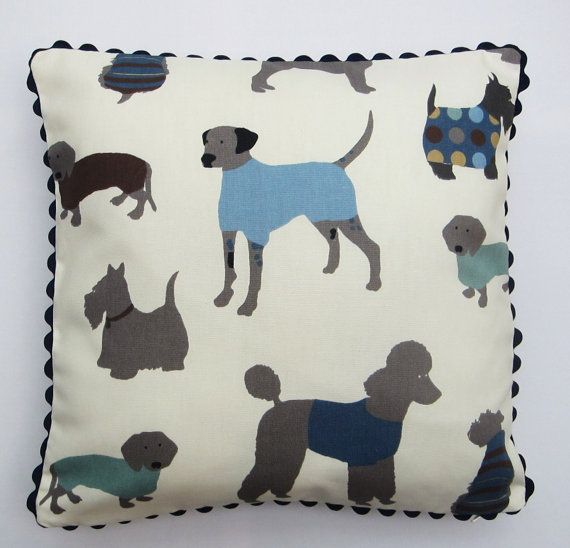 Dog Themed Pillow Cover, Dog print Cushion Cover, Cream Blue Grey Brown Decorative Pillow Case, 16 Inch Dog Pillow Case,  Ric-Rac Trim