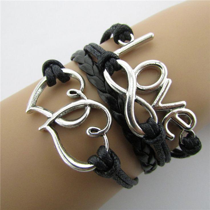 Vintage LOVE Heart To Heart Lucky 8 Infinity Bracelet Multiple Fashionable Black Leather Rope Hand Woven Braceletfriendship Gift Girlfriend Gift