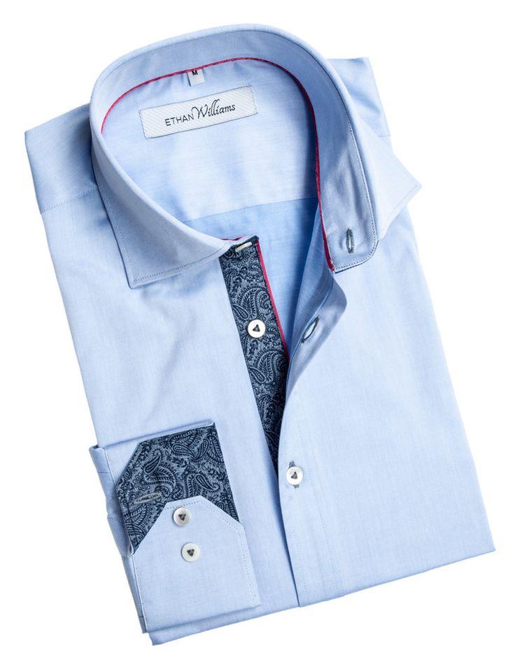 Ethan Williams Light blue designer shirt with dark blue paisley - Sephanie