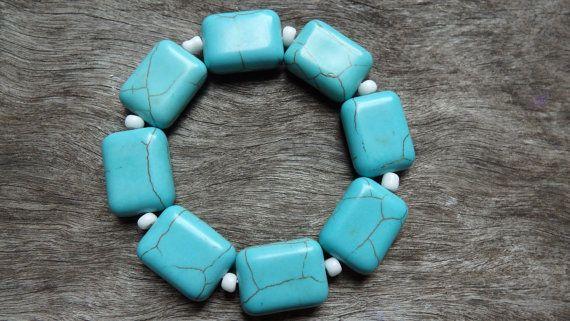 Turquoise Beaded Bracelet  Turquoise Bracelet by DominiquesWares