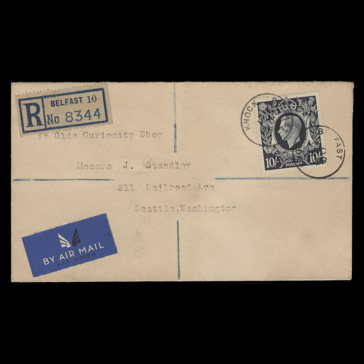 Great Britain 1939 (FDC) 10s King George VI high value Arms definitive, dark blue shade, on plain registered cover with circular KNOCK, BELFAST cancels dated 3 OC 39, almost a month before the official 30 October 1939 release. Additional three strikes on reverse. Very rare. Fine. SG478; SC251; BC52evar