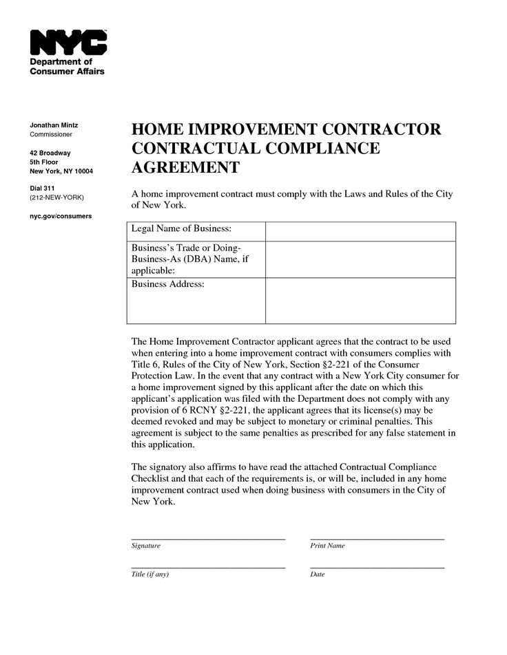 Home Improvement Contract Sample  info on financing home
