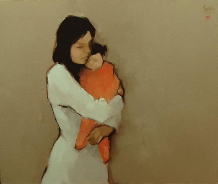 Mother and Child  Artist: Nguyen Thanh Binh  Material: Oil on Canvas