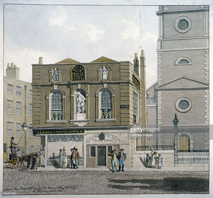 Aldgate House, Aldgate High Street, London, 1815. View of Aldgate House (Flints), originally Sir John Cass's school, built in front of St Botolph, Aldgate, with figures and a carriage. The house incorporates the business premises of Lace-Man and Glover, the Portsoken Ward Watch House and statues including Sir John Cass.