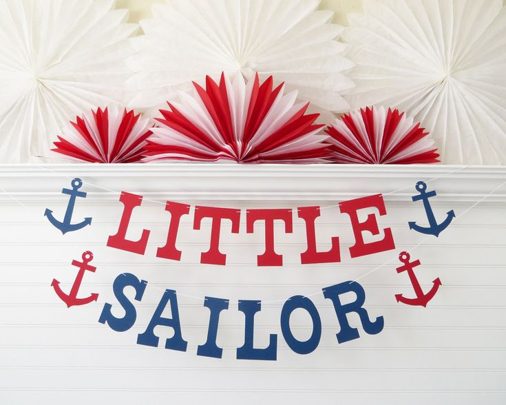 Little Sailor Banner - 5 inch Letters with Anchors - Nautical Birthday Party Banner Nautical Baby Shower Decor Anchor Banner Baby Sailor by FreshLemonBlossoms on Etsy