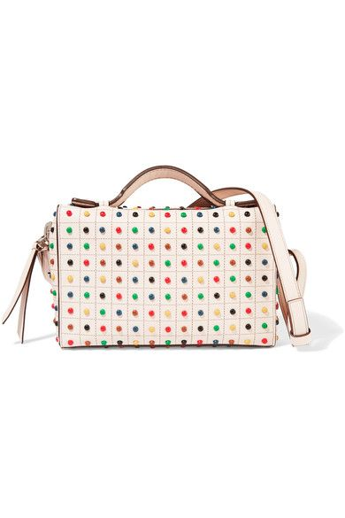 Tod's 'Bauletto' bag has been cut, worked, and sewn by hand. Covered in multicolored pebbles inspired by the label's signature 'Gommino' collection, this boxy style opens to a red suede-lined interior with a zipped pocket for your cards and keys. Carry it by the top handles or attach the shoulder strap to go hands-free.