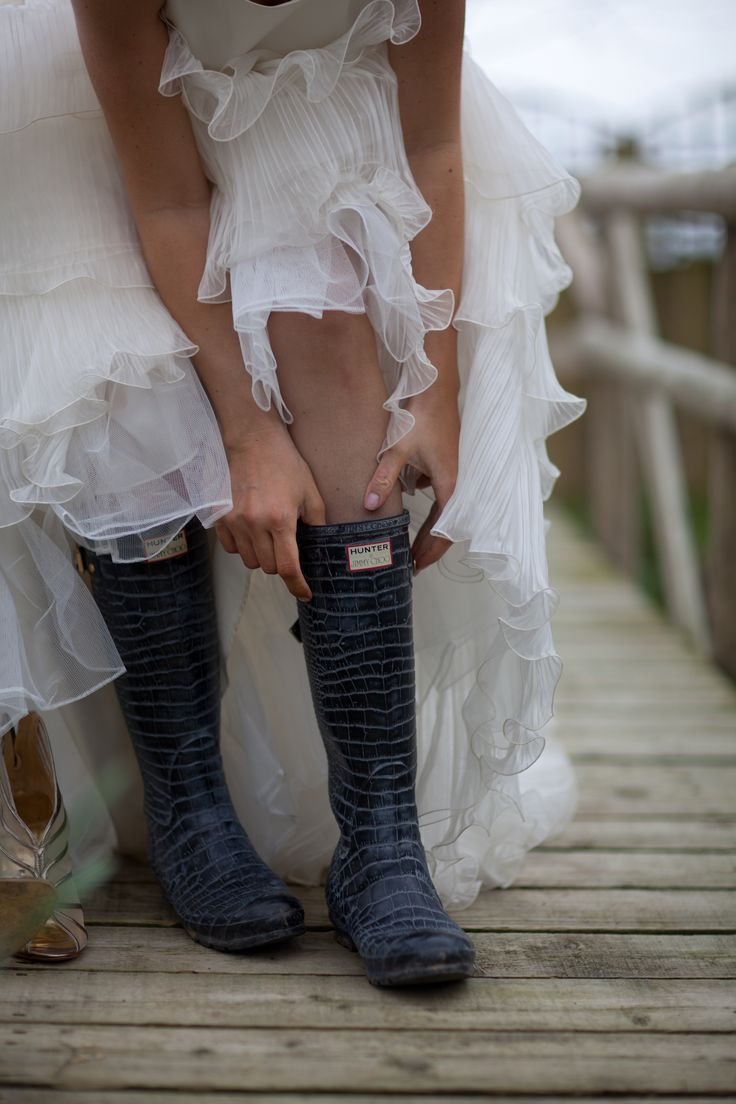 A country Wedding calls for wellies. Jimmy Choo Hunters! #wedding #country #jimmychoo #wellies #hunter
