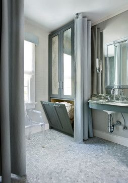 *use similar handicap/roll-under sink, add low wall-inset medicine cabinet on both sides of the sink,normal-size mirror between medicine cabinets/directly above sink - cabinet(no mirrors)/hamper opposite handicap toilet (hamper opens to laundry room on the other side)