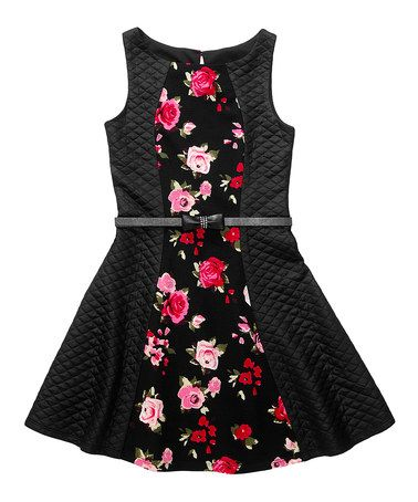 Another great find on #zulily! Black & Pink Floral Quilted A-Line Dress - Girls #zulilyfinds