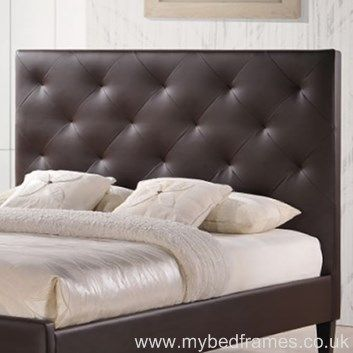 Lucia   A Bold Faux Leather Bed Frame With A Large Button Tufted, Headboard.