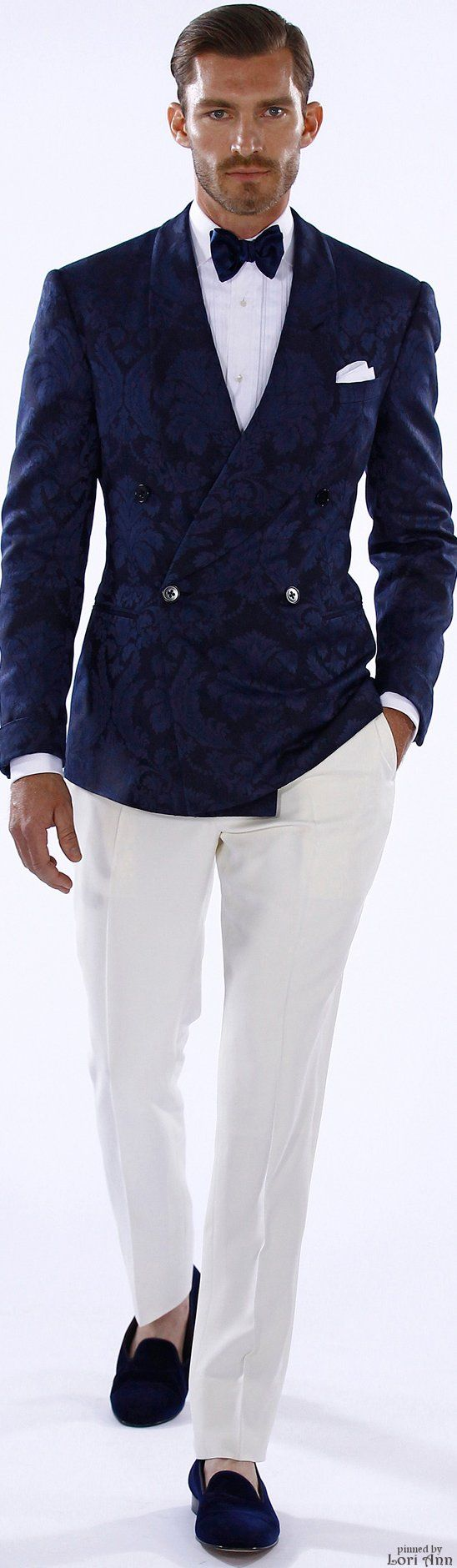 Ralph Lauren Spring 2016 | Men's Fashion | Menswear | Men's Outfits Ideas | white Pants/Trousers, Printed Navy Double Breasted Suit Jacket | Stylish and Sophisticated | Shop at designerclothingfans.com