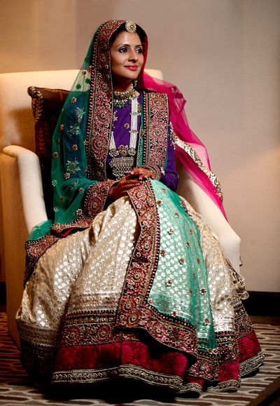 Bridal Wear - Cream Lehenga with a Purple Blouse   WedMeGood   Bridal Cream Brocade Lehenga with a Deep Purple Blouse and Double Net Green and Pink Dupatta, Pearl Raani Necklace, Embroidered Borders #wedmegood #indianbride #indianwedding #lehenga #bridal #cream #purple