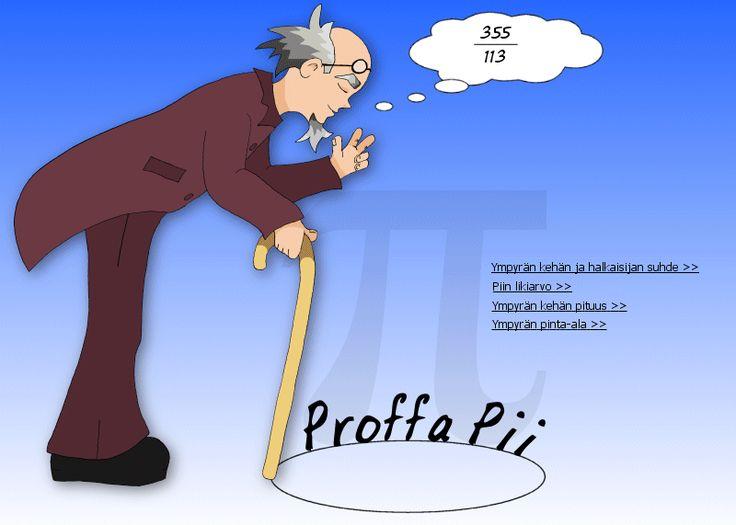 Proffa Pii - Ympyrän kehän ja halkaisijan suhde, piin likiarvo, ympyrän kehän pituus, ympyrän pinta-ala.