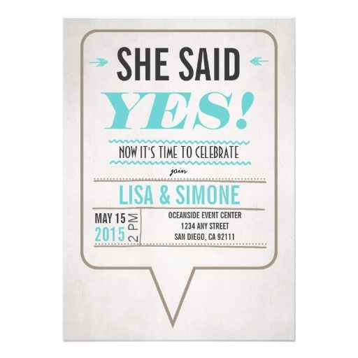 Superb She Said Yes Lesbian Wedding Invitation