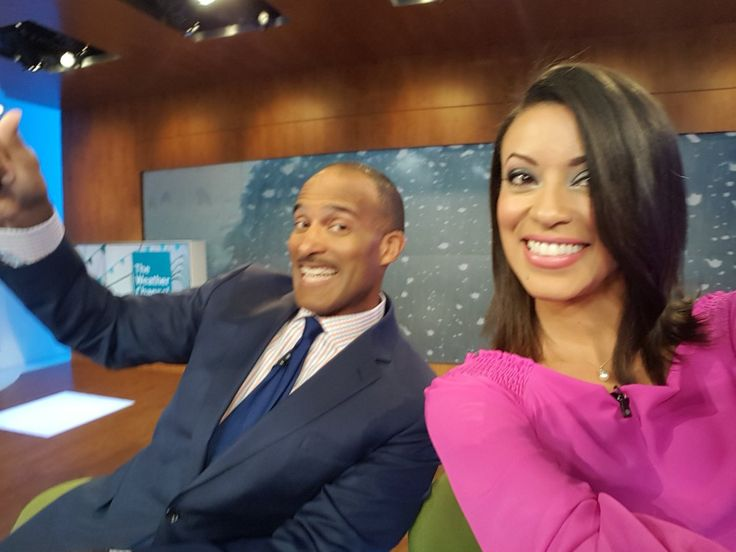 The Weather Channel provides daily weather updates and alerts to viewers across the US, Virgin Islands, Puerto Rico, and The Bahamas. The channel has been broadcasting since 1982. Here's Paul Goodloe and Liana Brackett, posting an office selfie that captures the good times on set that are typical of a working day at The Weather Channel.