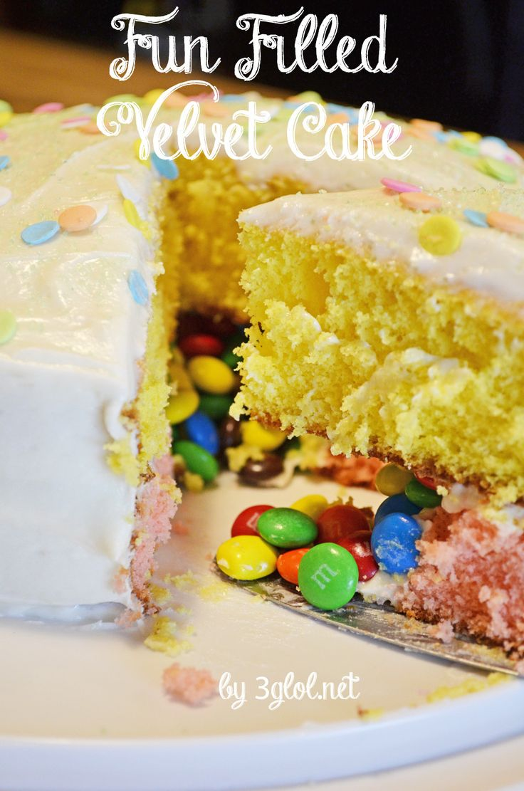 Fun Filled Velvet Cake.  A candy filled cake using box cake mix.  #candyfilledcake #cakewithasurpriseinside www.3glol.net