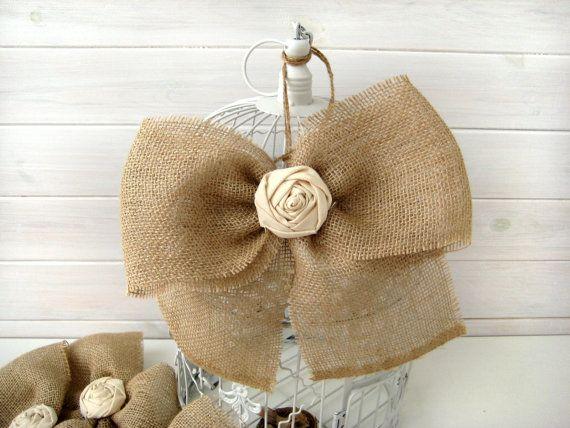 NEW Burlap Bow Rustic Wedding Fabric Rose Set of 4 by BrightBride, $24.00