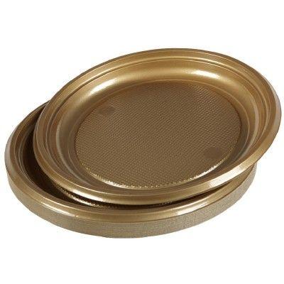 assiette plastique dorée x25 (GiFi-353911X)